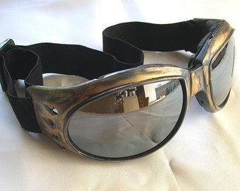 STEAMPUNK GOGGLES - Distressed Antique-Gold Cyber Rave Riding Motorcycle Goggles-Burning Man Goggles