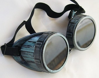 PATINA GREEN/PEWTER Distressed Metal Look Steampunk Gothic Cyber Goggles