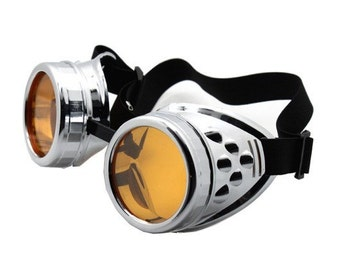 Chrome Look Cyber-Goth STEAMPUNK Goggles