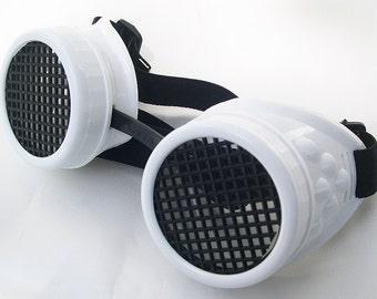WHITE/BLACK Cyber-Rave - STEAMPUNK - Goth - Punk - Clubbing Welders Goggles with Mesh Eye Treatment