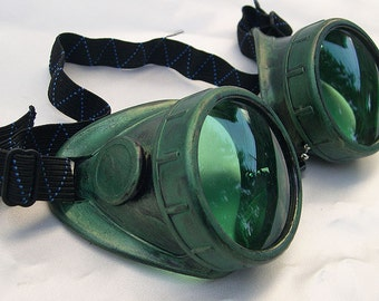 STEAMPUNK GOGGLES - Electric Green Distressed Vintage-Look STEAMPUNK Cyber Welding Motorcycle Goggles - Burning Man Goggles