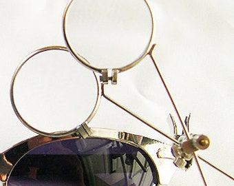 STEAMPUNK LOOPS - Metal Framed Double Jewelers 'Clip On' Magnifying Eye Loupes with Adjustable Spring