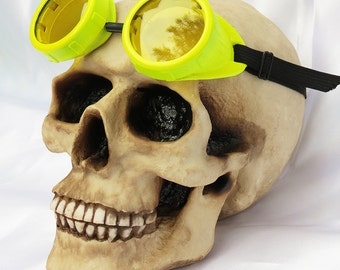Neon Yellow STEAMPUNK CYBER Welders Goggles