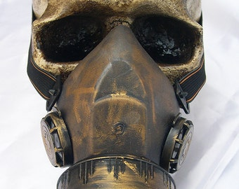 STEAMPUNK GAS MASK - Distressed Gold Brass Look Lightweight Single Filter Chemical Nuclear Biological Warfare Respiratory-Burning Man Mask