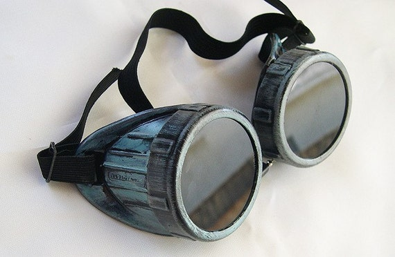 Distressed Two-Tone PATINA GREEN/PEWTER Metal Look Steampunk Gothic Cyber Goggles