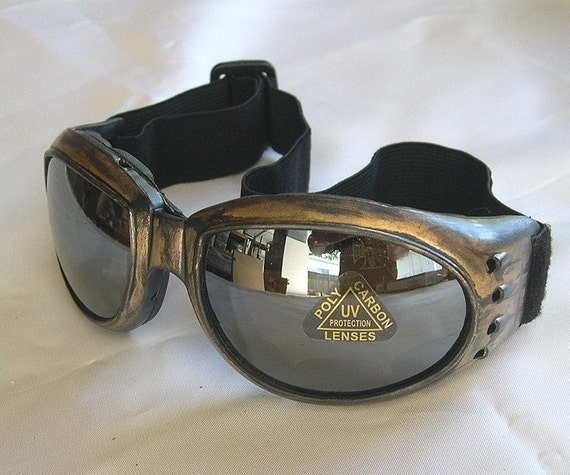 STEAMPUNK GOGGLES - Antique Gold Distressed-Look 'STEAMPUNK' Cyber Rave Motorcycle Goggles - Burning Man Goggles