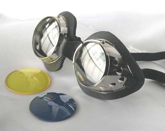 STEAMPUNK GOGGLES - Scott Pilgrim-Ramona Flowers 'Chrome' Metal Goth Goggles - Burning Man Goggles