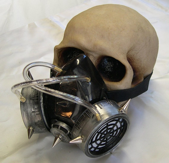 STEAMPUNK Chemical Nuclear Fall Out Biological Warfare Respirator Gas Mask with Air Tubes & Spikes-A BURNING MAN Must Have - Pewter Silver