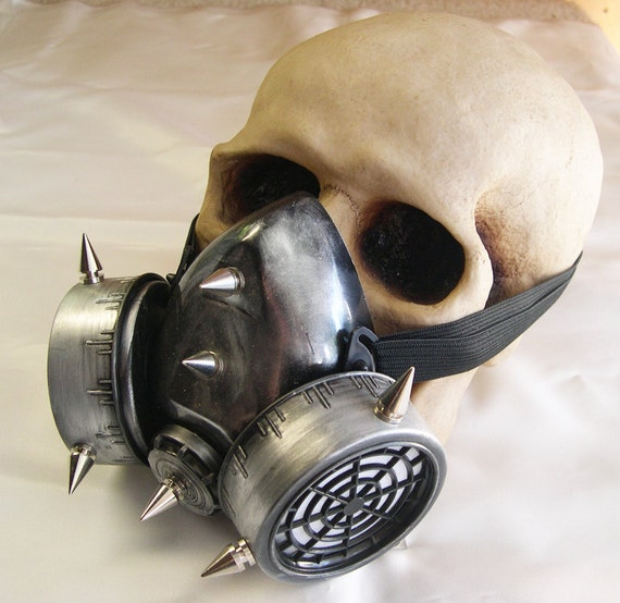 STEAMPUNK GAS MASK -Silver Pewter Distressed Look Chemical Nuclear Fall Out Biological Warfare Respiratory with Spikes-Burning Man Mask