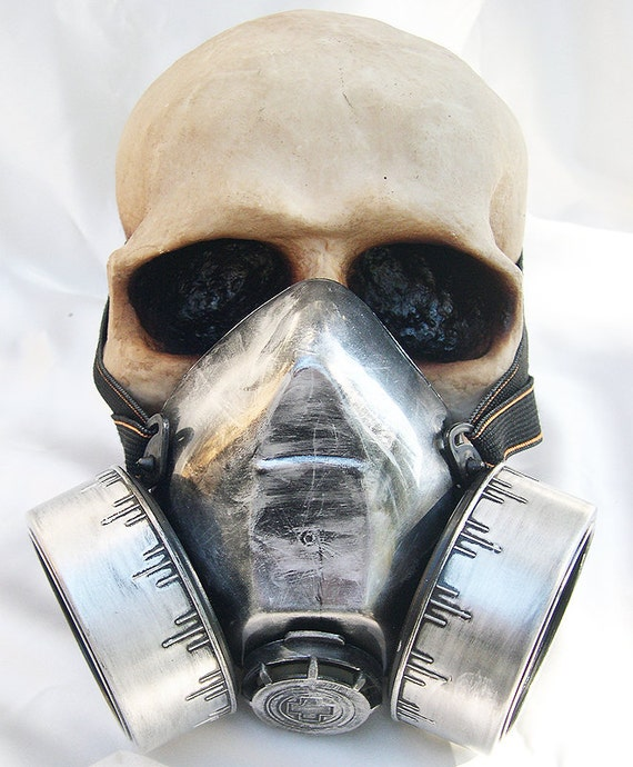STEAMPUNK MASK - Distressed Silver -Look Steampunk Chemical Nuclear Fall Out Biological Warfare Respirator Steampunk Mask - Burning Man Mask