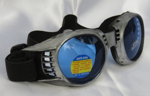SILVER PEWTER Distressed Vintage, Metal-Look STEAMPUNK Cyber Fashion Vented Riding Goggles