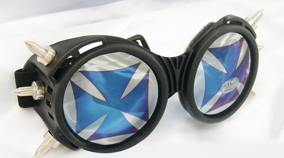 Steampunk Gothic Cyber Punk 'IRON CROSS' Goggles with SPIKES