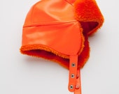 SALE Vintage Boho Bright Orange Vinyl & Hunting Cap Trapper EAR WARMER Russian Aviator Glam Hat