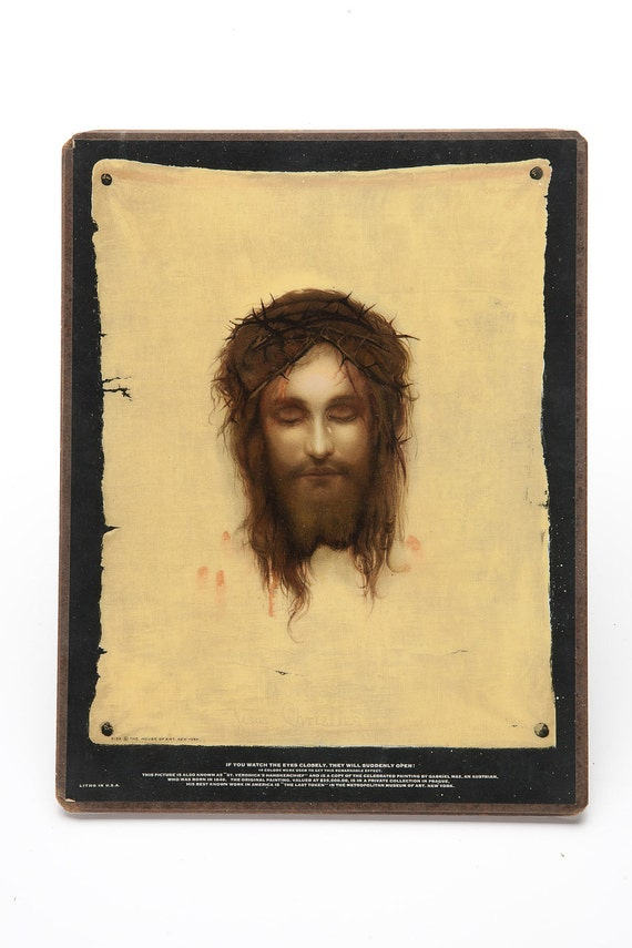 Vintage Repro St. Veronicas Handkerchief Closed Open Eye Jesus Graphic Print Wall Hanging