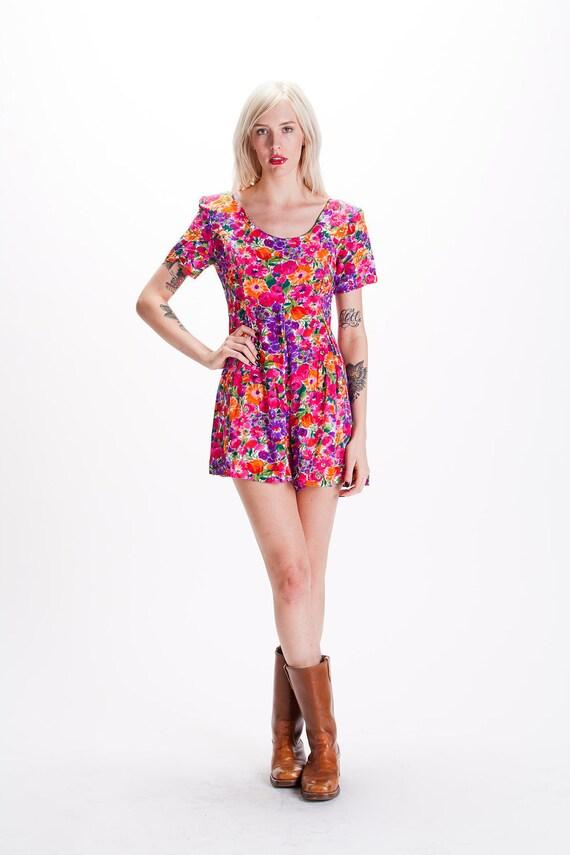 SALE Vintage 90s Floral Babydoll GRUNGE REVIVAL Romper Onesie Mini Dress Jumpsuit