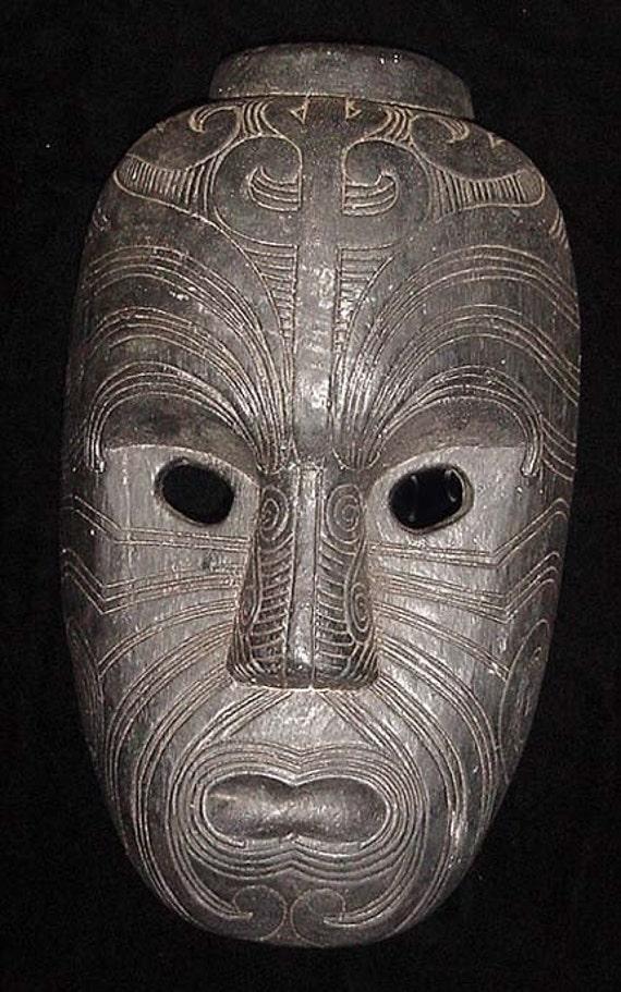 Polynesian Mask With Maori Tattoo Motifs