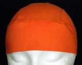 Hand Made Orange Skull Cap, Chemo Cap, Biker, Halloween, Head Wrap, Hats, Do Rag, Men, Women, Children, hair loss, Motorcycle, Alopecia