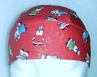 Red Skull Cap, Chemo Cap w Red, White, Blue and Gold Santa's, Do Rag, Hat, Hair Loss, Bald, Christmas, Surgical Cap, Alopecia, Head Wrap