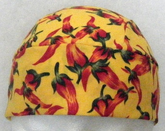 Handmade Yellow Skull Cap- Red Chili Peppers, Do Rag, Chemo Cap, Surgical Cap, Hats, Helmet Liner, Head Wrap, Alopecia, Hair Loss, Chef Hat