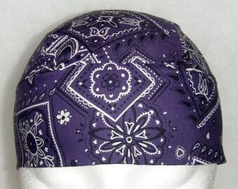 Purple Bandana Skull Cap or Chemo Cap, Do Rag, Head Wear, Handmade, Hat, Surgical Cap, Head Wrap, Hair Loss, Bald, Alopecia, Hair Loss, Caps