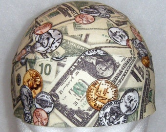 Money Skull Cap or Chemo Cap, Bandanna, Helmet Liner, Head Wrap, Hats, Do Rag, Head Wear, Biker, Motorcycle, Gambler, Hair Loss, Handmade