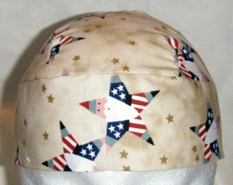 Tan Skull Cap w Star Santas, Do Rag, Hat, Head Wrap, Bandanna, Helmet Liner, chemo cap, Biker, motorcycle, Handmade, scrub cap, motorcycle