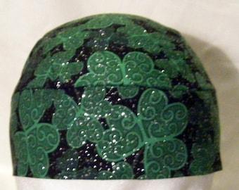 Black Skull or Chemo Cap w Large Shamrocks w Silver,Hats,Biker,Head Wear,Do Rag,Men,Women, St.Patricks Day,Green Shamrocks, Irish, Hair Loss