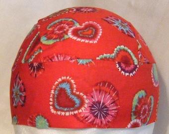 Red Skull Cap w Tie Dyed Hearts, Hat, Do Rag, Biker, Head Wrap, Chemo Cap, Valentine, Helmet Liner, Hair Loss, Bald, Alopecia, Handmade