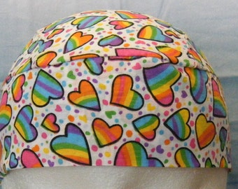 Bright Colored Hearts on a White Skull Cap, Hat, Chemo, Biker, Beanie, Head Wrap, Motorcycle,DoRag, Women,Kids