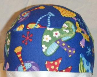 Handmade Blue Skull Cap with Colored Mushrooms, Hats, Chemo Cap, Biker, Head Wrap, Summer, Helmet Liner,  Motorcycle, Alopecia, Surgical Cap