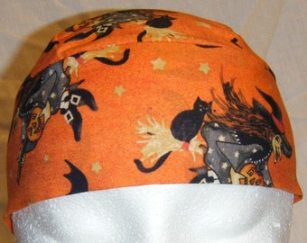 Orange Skull Cap w Witches w Bats, Hats, Chemo Cap, Biker, Head Wrap, Halloween, Do Rag, Helmet Liner, Hair Loss, Surgical Cap, Alopecia