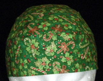 Handmade Green Skull Cap w Gold, Red Decorations, Holiday, Hat, Hair Loss, Chemo Cap, Head Wrap, Candy Canes, Holly Leaves, Surgical Cap