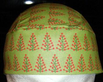 Light Green Skull, Chemo Cap w Trees, Hats, Do Rag, Hair Loss, Head Wrap, Holidays, Christmas, Winter, Surgical Cap, Alopecia, Handmade,Caps