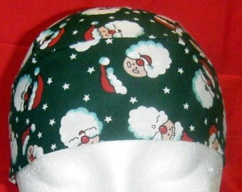 Green Skull Cap w Santa's, Chemo Cap, Biker, Do Rag, Hats, Head Wrap, Hair Loss, Bald, Holidays, Christmas, Handmade, Motorcycle, Alopecia