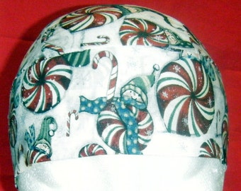 White Skull Cap w Snowmen on Peppermints, Chemo Cap, Hats, Hair Loss, Bald, Biker, Head Wrap, Surgical Cap, Christmas, Snow, Alopecia