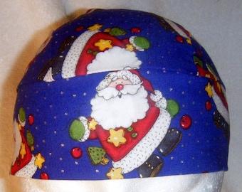 Blue Skull Cap w Santa's, Handmade, Chemo Cap, Holidays, Christmas, Do Rag, Hats, Head Wrap, Biker, Hair Loss, Bald, Surgical Cap,Motorcycle