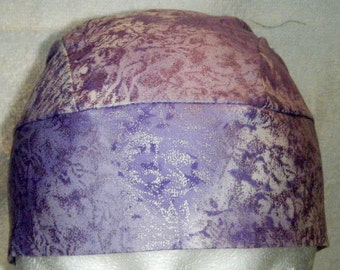 Light Purple w Silver Designs Skull Cap or Chemo Cap,Hat, Biker, Women, Head Wrap, Do Rag, Caps, Hair Loss, Bald, Alopecia, Surgical Cap