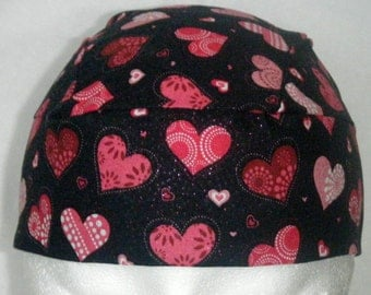 Black Skull Cap w Hearts, Chemo Cap, Head Wrap, hats, Do Rag, Biker, Valentines, hair loss, Helmet Liner, Motorcycle,  Handmade, Alopecia