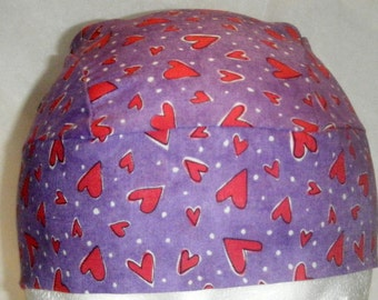 Purple Skull Cap with Red Hearts, Chemo Cap, Womem, Biker, Motorcycle, Hat, Head Wrap, Do Rag, Valentines, Kids, Hair Loss, Bald, Surgical
