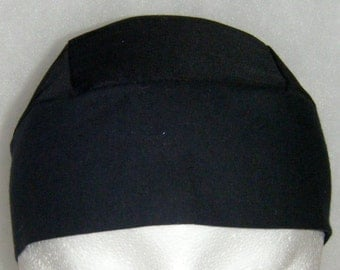 Black Skull Cap, Chemo Cap, Handmade, Biker, Head Wrap, Motorcycle, Do Rag, Hat, Hair Loss, Helmet Liner, Alopecia, Athletes, Surgical Cap