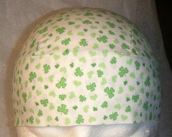Handmade White Skull Cap with Green Hearts and Green Shamrocks, Chemo Cap, Biker, Hats, Head Wrap, Motorcycle, St Patricks Day, Scrub Cap