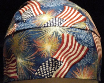Handmade Blue Skull Cap with USA Flag  & Gold Fire works, Chemo Cap, Hats, 4th of July, Flags, Head Wrap, Do Rag, Motorcycle, Alopecia, Vets