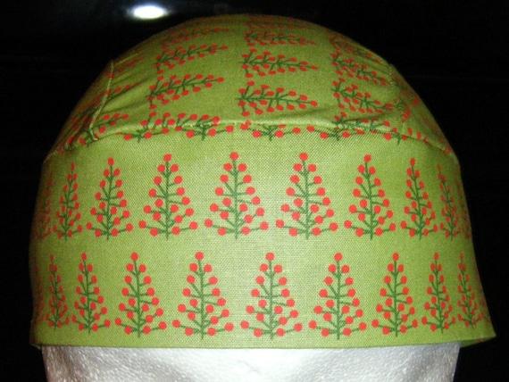 Light Green Skull or Chemo Cap w Trees, Hats, Biker, Do Rag, Men, Women, Hair Loss, Head Wrap, Holidays, Christmas, Winter,Surgical Cap