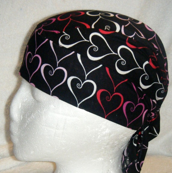 Black Skull Cap with Red,Pink and White Hearts, Chemo,Hats,Beanie,Biker,Head Wrap,Do Rag,Women,Men,Kids,Valentines, hair loss
