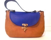 CLEARANCE SALE - Blue and Tan Kangaroo Leather Shoulder Handbag