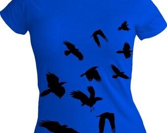 Flock of Crows Black Design on Ladies Blue Tshirt S M L XL