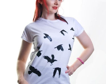 Flock of Crows Black Design on Ladies White Tshirt S M L XL