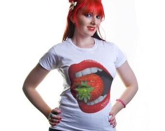 Strawberry Lips White Ladies Tshirt S M L XL