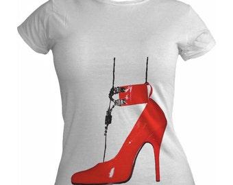 Red Stiletto Shoe Ladies White Tshirt S M L XL