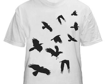 Flock of Crows Black Design on Mens White Tshirt M L XL XXL